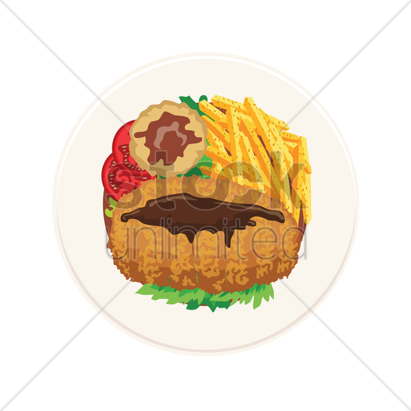 chicken chop with mashed potato and french fries vector graphic
