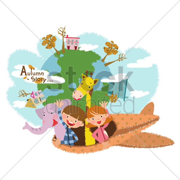 children in a plane vector graphic