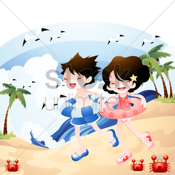 children playing at the beach vector graphic