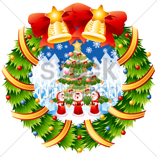 children singing christmas carols vector graphic