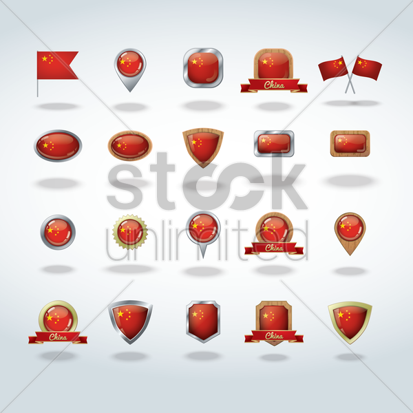china flag icons vector graphic