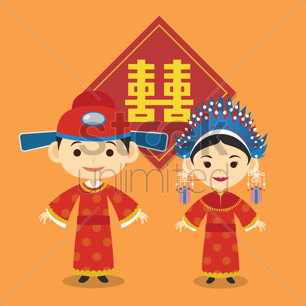 chinese bride and groom vector graphic