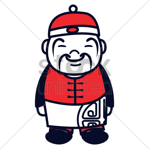chinese man with cap vector graphic
