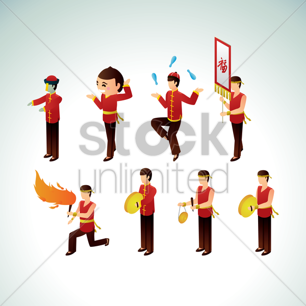 chinese men with different activities vector graphic