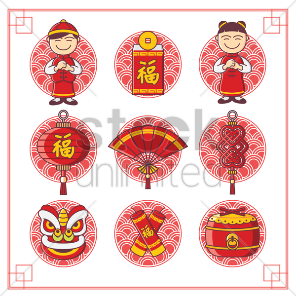 chinese new year collection vector graphic