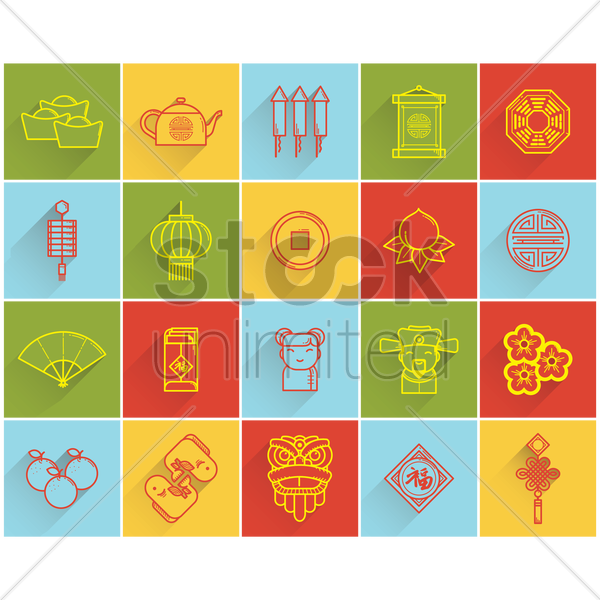 chinese new year icons vector graphic