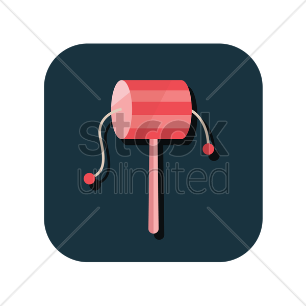 chinese toy drum rattle vector graphic