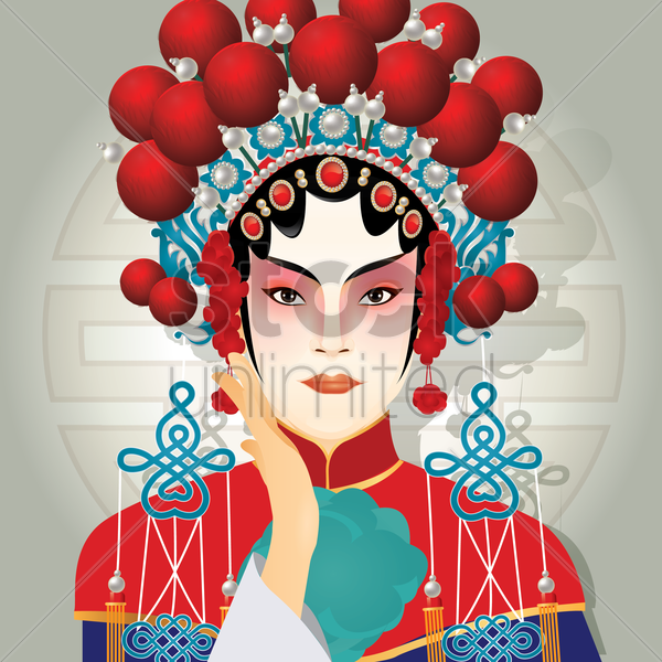 chinese traditional woman vector graphic