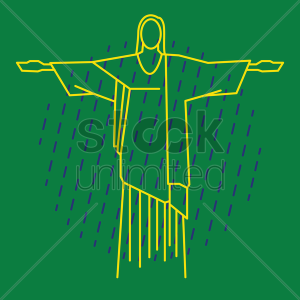 christ the redeemer statue vector graphic