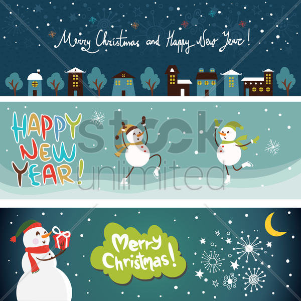christmas banner collection vector graphic