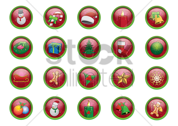 christmas buttons collection vector graphic