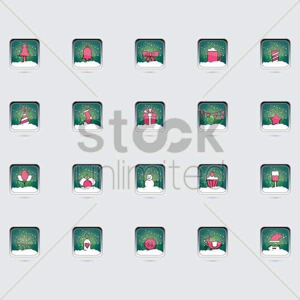 christmas buttons vector graphic