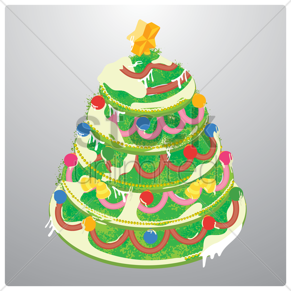 christmas cake vector graphic