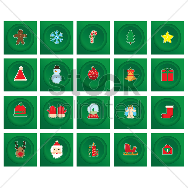 christmas decoration set vector graphic