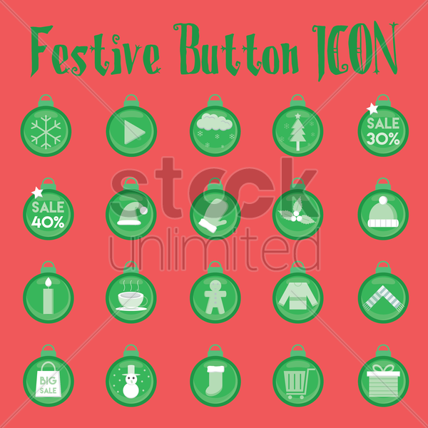 christmas icon collection vector graphic