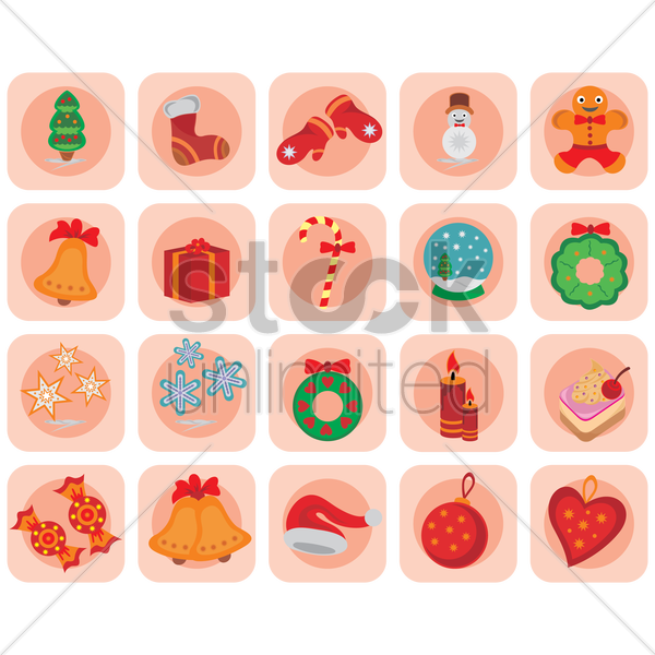 christmas icon set vector graphic