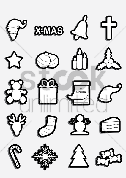 christmas icons collection vector graphic