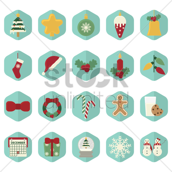 christmas icons vector graphic