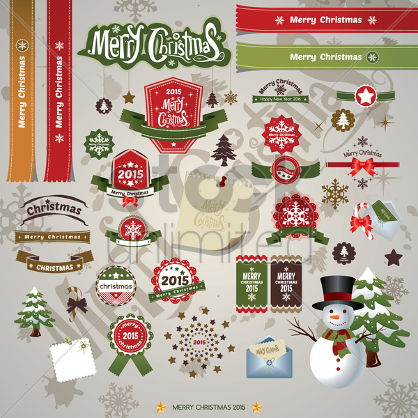 christmas labels vector graphic