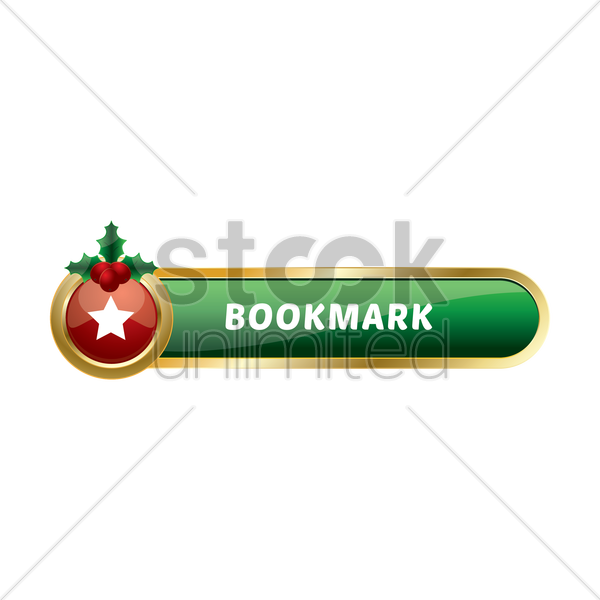 christmas themed bookmark button vector graphic