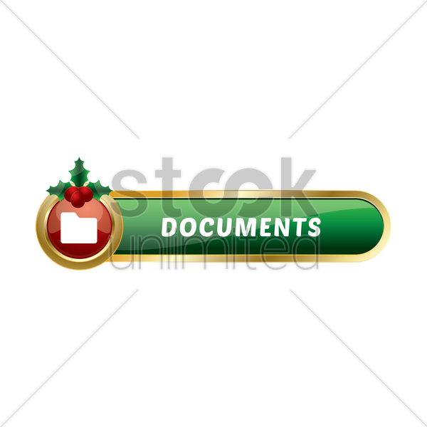 christmas themed folder button vector graphic