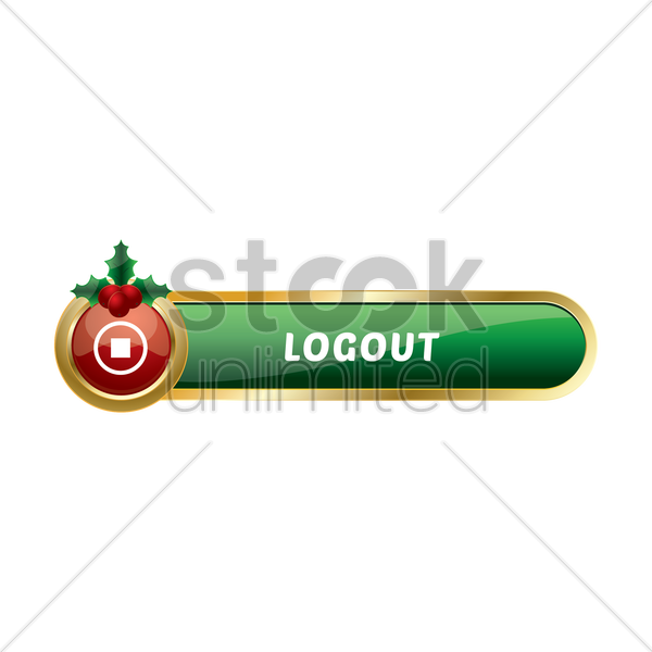 christmas themed log out button vector graphic