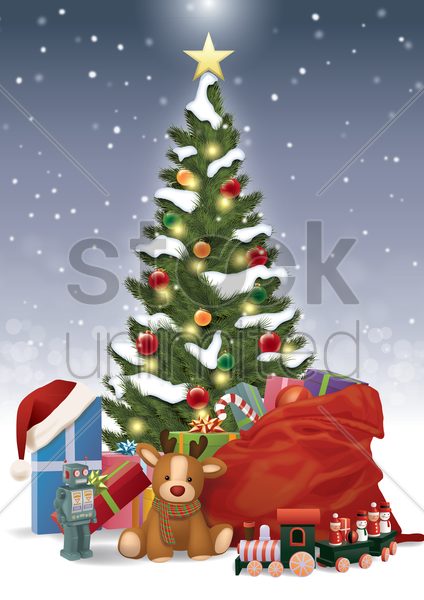 christmas tree with presents and toys vector graphic