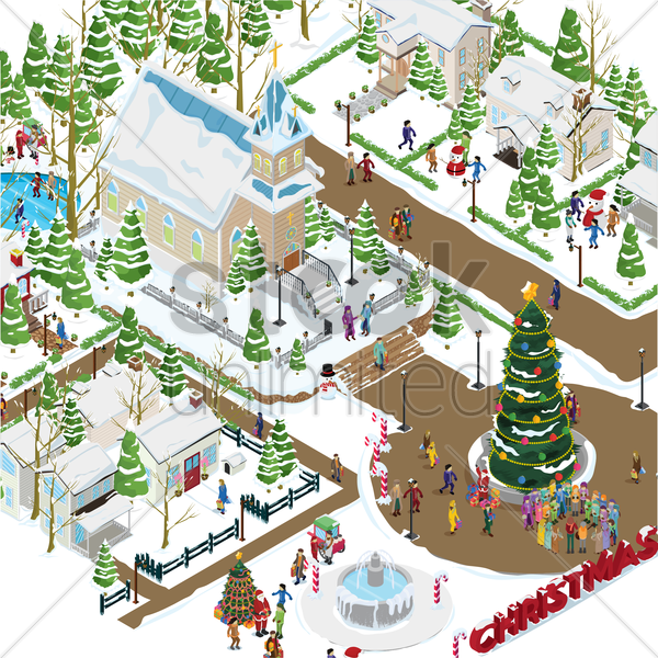 christmas village vector graphic