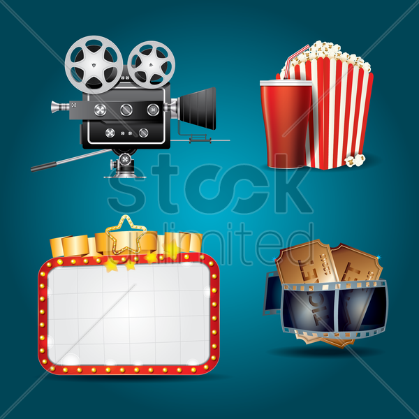 cinema theme collection vector graphic