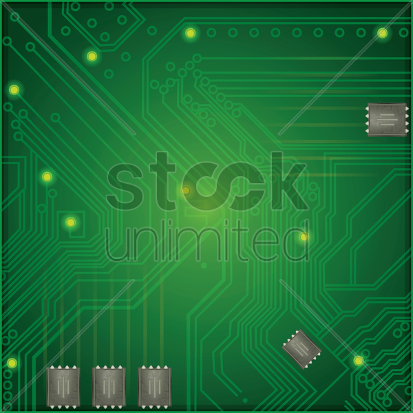 circuit board and chips vector graphic