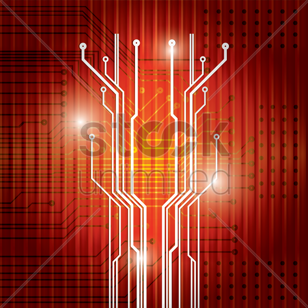 circuit board tree design vector graphic