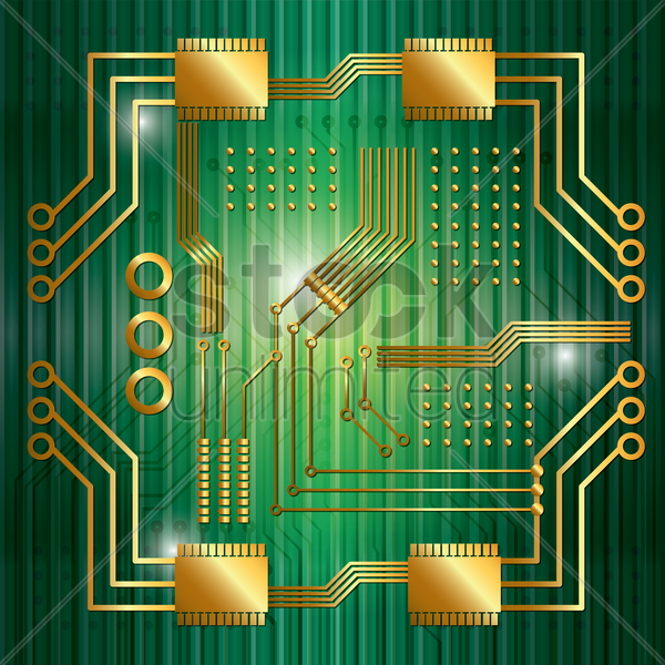 circuit board with processor vector graphic