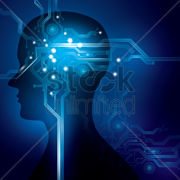 circuit design on man avatar vector graphic