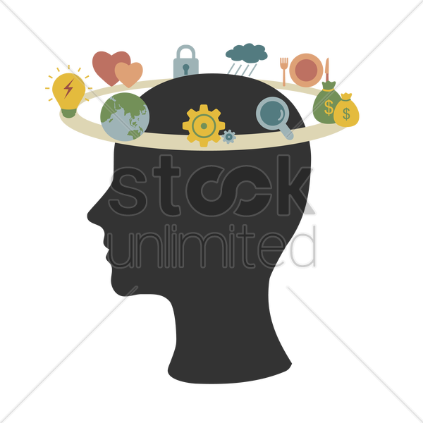 circular path of various concepts in human head silhouette vector graphic