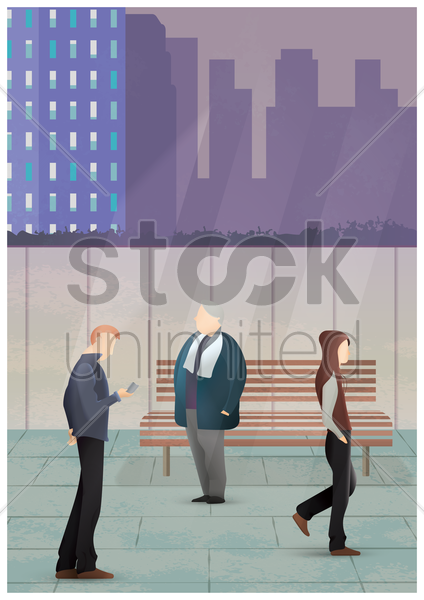 city street with people vector graphic