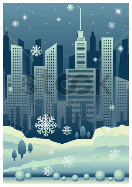 cityscape poster with snowfall vector graphic