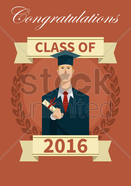 class of 2016 graduation poster vector graphic