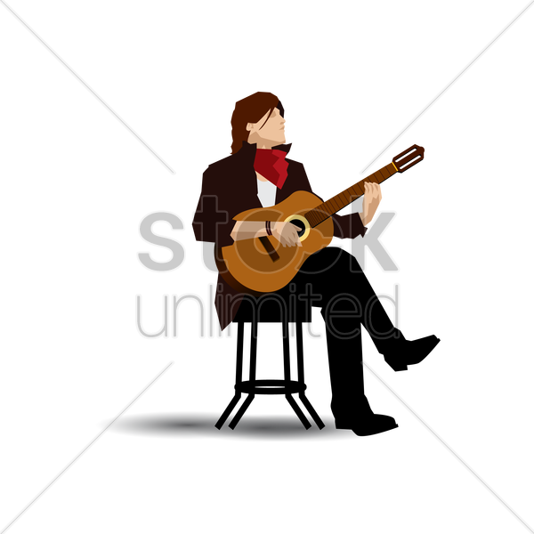 classical guitarist vector graphic