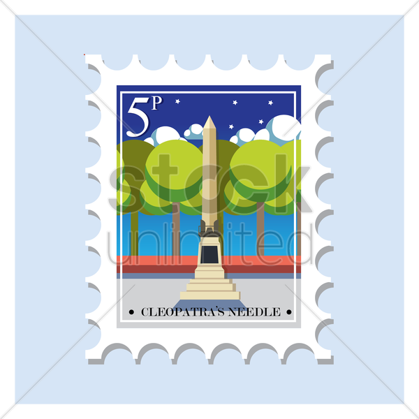 cleopatra's needle postage stamp vector graphic