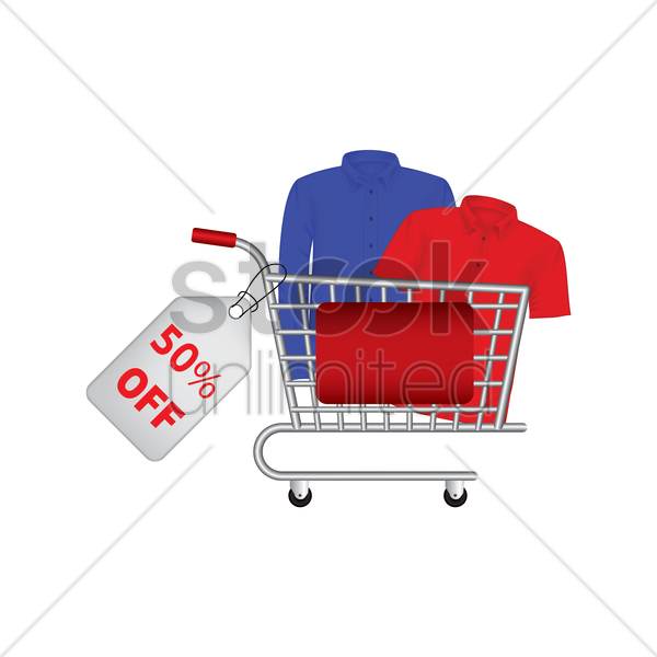 clothes promotion in a shopping cart vector graphic