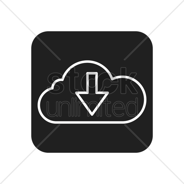cloud download button vector graphic
