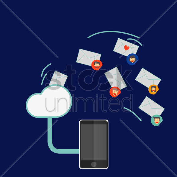 cloud mailing vector graphic