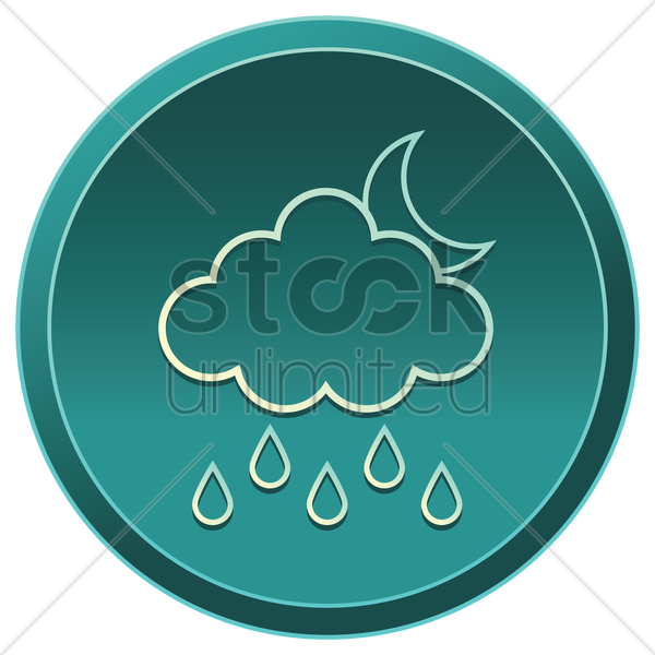 cloud with moon and rain vector graphic