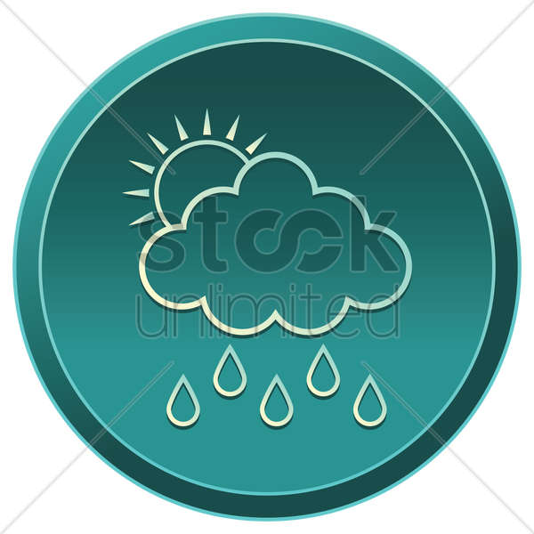 cloud with sun and rain vector graphic
