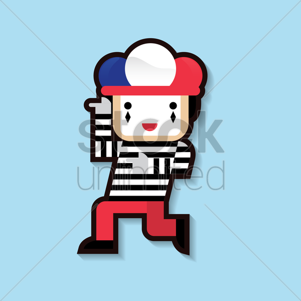 clown with french flag cap vector graphic