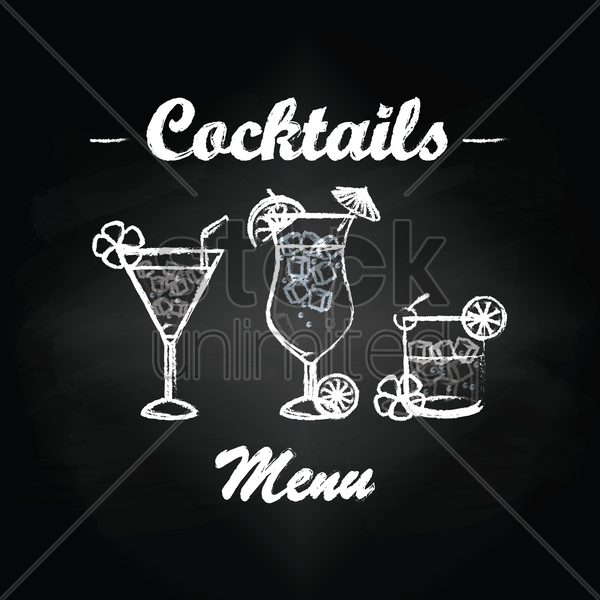 cocktails menu card design vector graphic