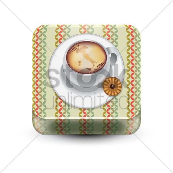 coffee and italian thumbprint cookie vector graphic