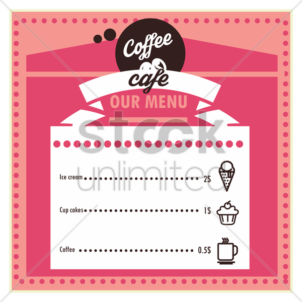 coffee cafe menu card design vector graphic