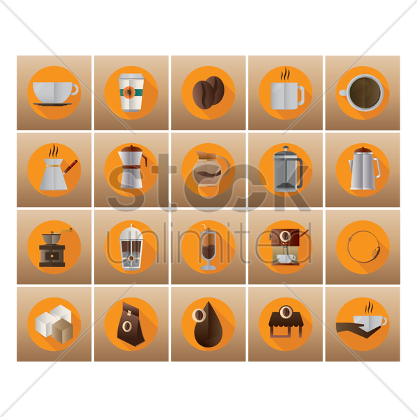 coffee collection vector graphic