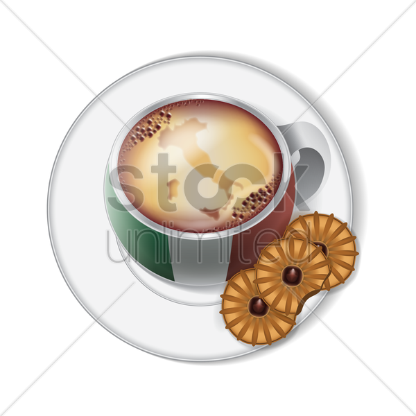 coffee cup with italy flag decoration vector graphic